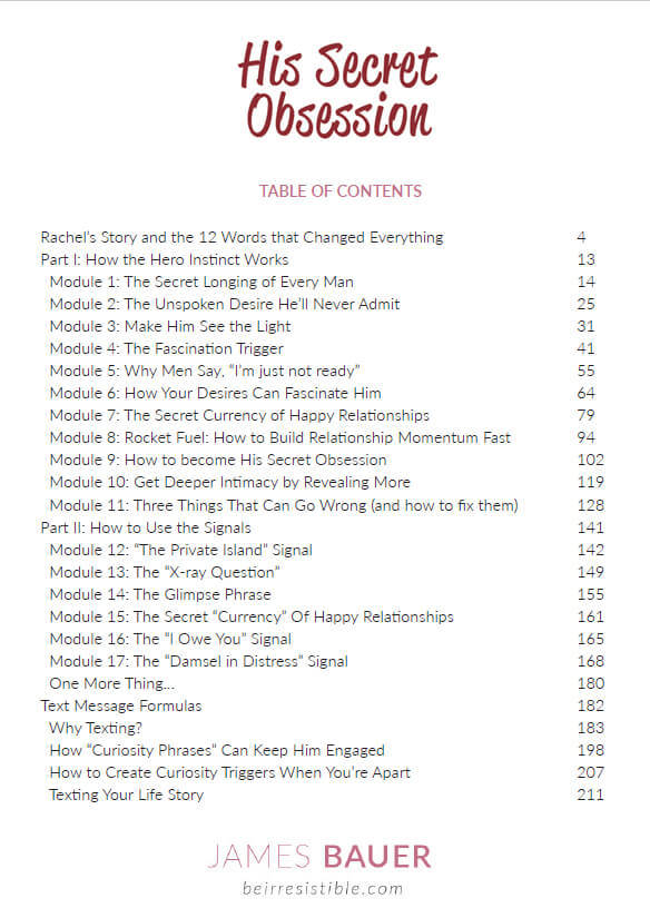 His Secret Obsession - Table of Contents