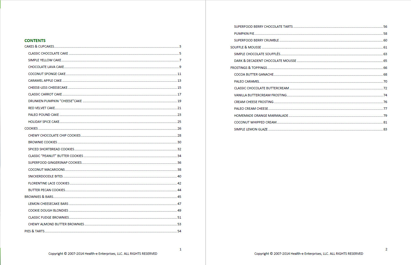 Guilt-Free Desserts Table of Contents