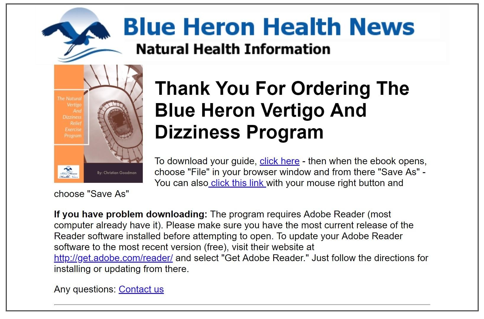 vertigo and dizziness program download page