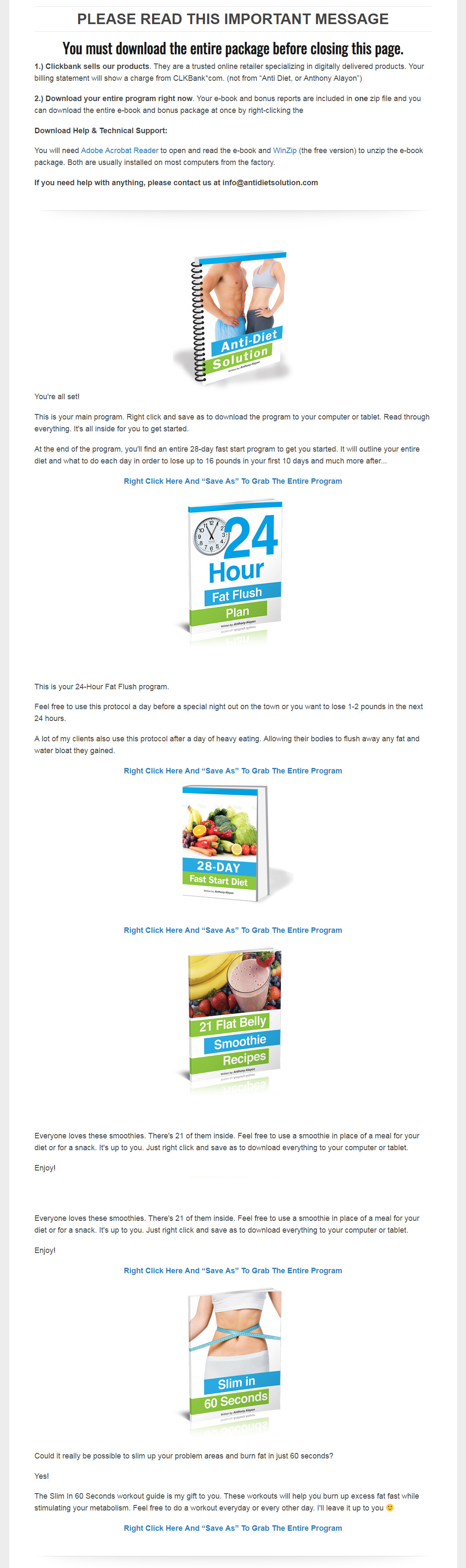 Anti-Diet Solution Download Page