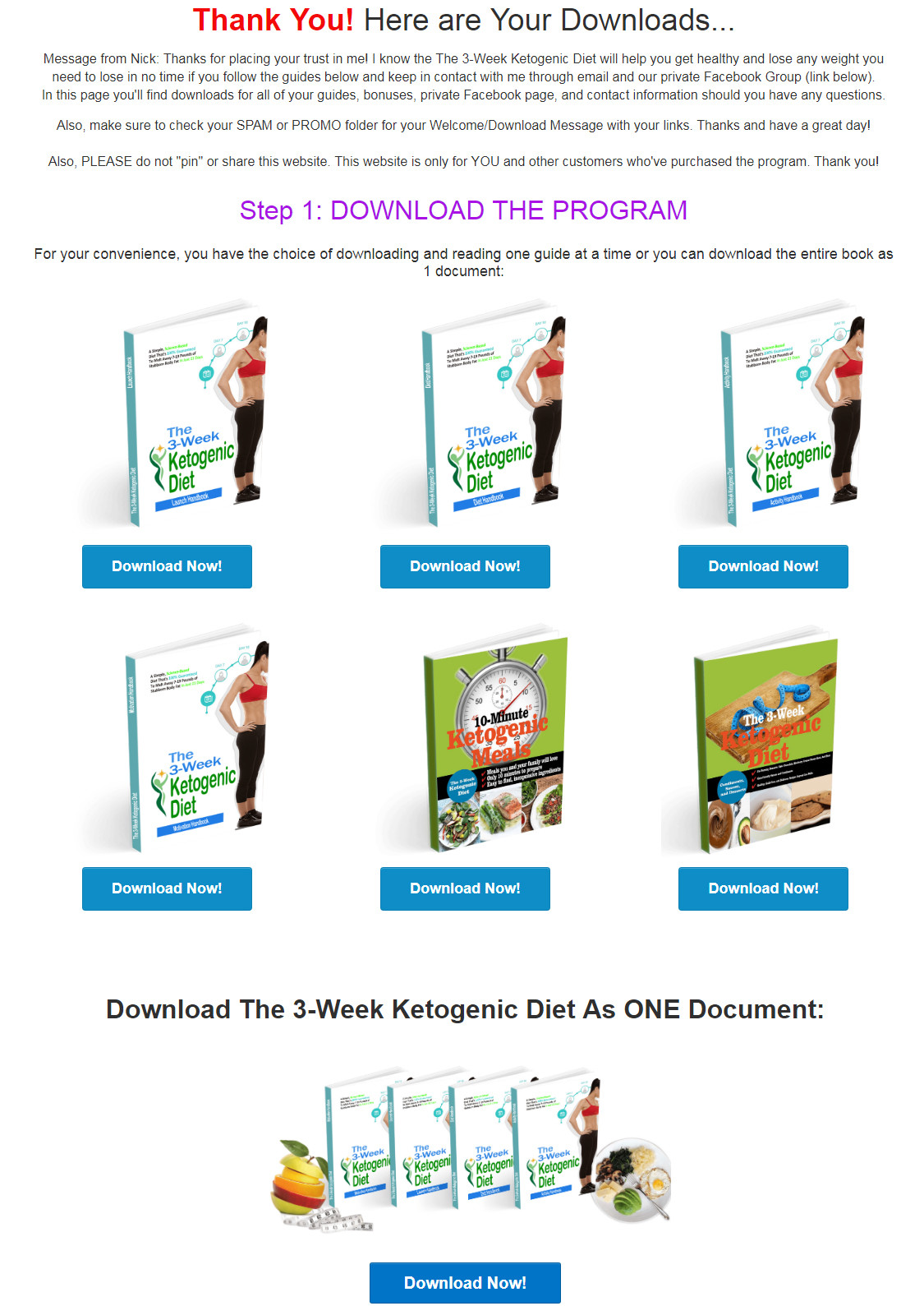 3 Week Ketogenic Diet Download Page